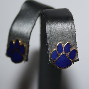 Beautiful gold and blue paw print earrings vintage